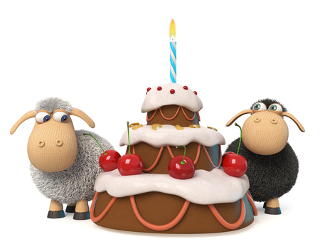 3d illustration relationship between the two sheep at the birthday party Stock Photo