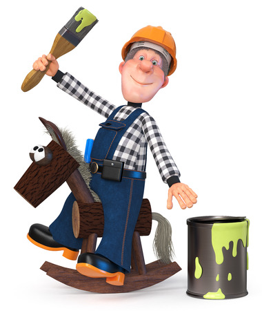 3D illustration of funny plumber engineer character is getting ready to repair