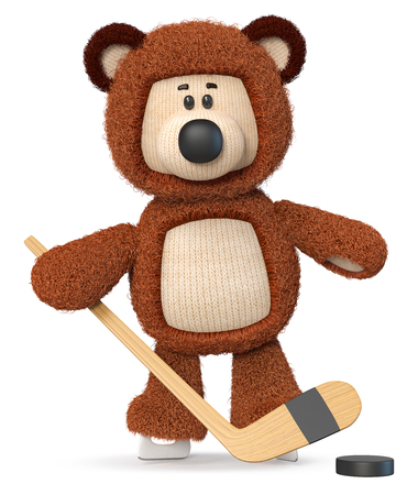 3d illustration fluffy bear with a stick and a puck on skates 写真素材