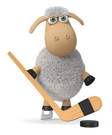 3d illustration farm animal playing ice hockey 写真素材 - 123942572