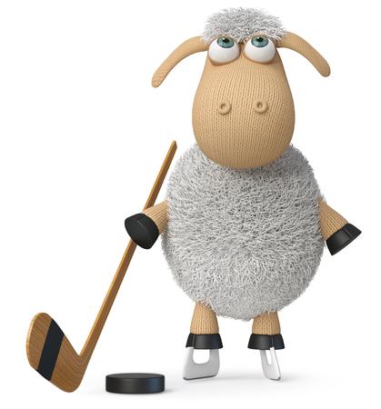 3d illustration farm animal playing ice hockey 写真素材 - 123942573