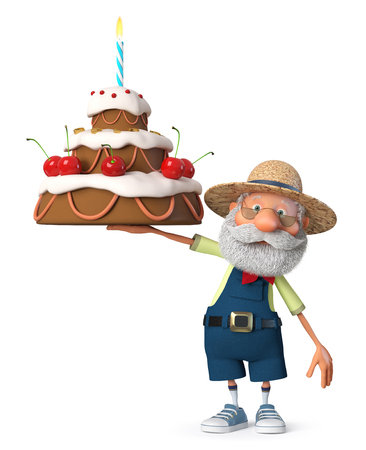3d illustration the grandfather was a farmer posing with the cake