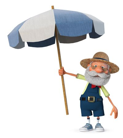 3d illustration an elderly farmer enjoys a holiday in the sun