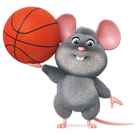 3d illustration gray and fluffy little animal doing sports
