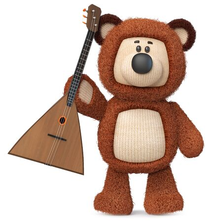 3d illustration fluffy bear with a musical instrument