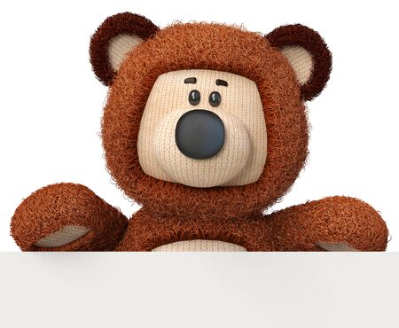 3d illustration toy bear with a large Billboard