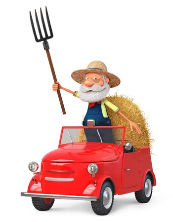 3D illustration grandfather peasant posing in overalls with a pitchfork near a haystack