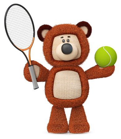 3d illustration fluffy bear with tennis racket and ball