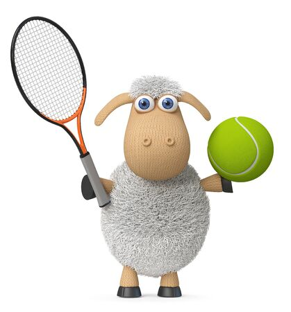 3d illustration farm animals play sports with a racket and ball 写真素材 - 129806873