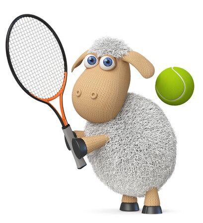 Gli animali da fattoria dell'illustrazione 3d fanno sport con una racchetta e una palla Archivio Fotografico