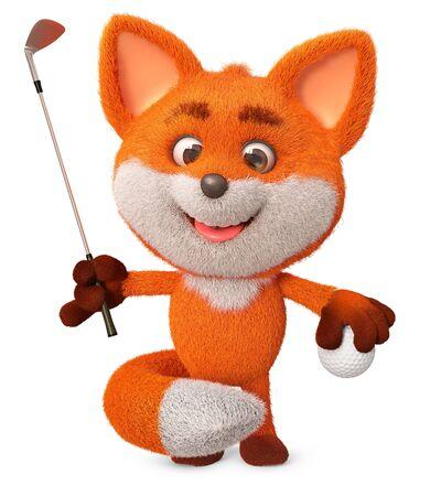 3d illustration fun furry forest animal athlete 写真素材