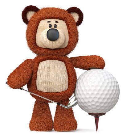 3d illustration fluffy bear with a Golf club and a ball