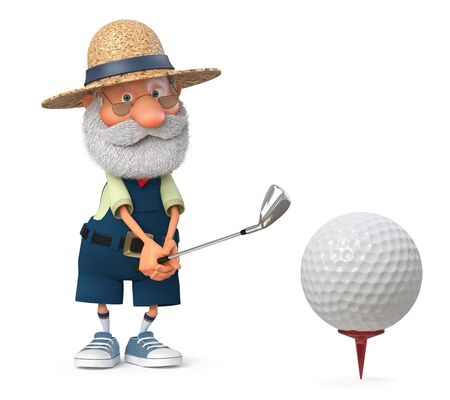 3D illustration grandfather peasant posing in overalls with a Golf club