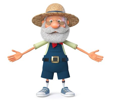3D illustration the grandfather the peasant poses in overalls Reklamní fotografie