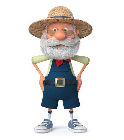 Ilustración 3D el abuelo el campesino posa con un mono