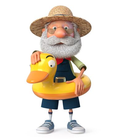 3D illustration of grandpa peasant posing in overalls on the beach 写真素材 - 131186735