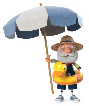 3D illustration grandpa peasant posing in overalls on the beach with an umbrella