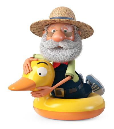 3D illustration of grandpa peasant posing in overalls on the beach Reklamní fotografie
