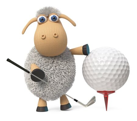 3d illustration lamb goes in for sports with a Golf club and a ball 写真素材 - 131186739