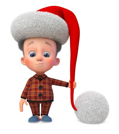 3D illustration funny baby celebrates Christmas in pajamas and cap