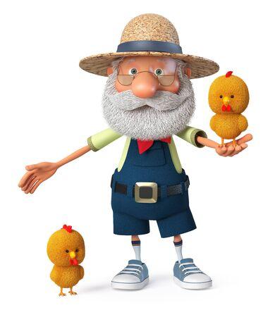 3D illustration grandpa peasant posing in overalls on farm 写真素材