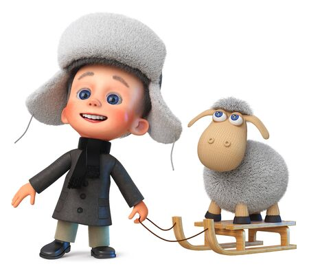 3D illustration baby is standing outside in warm clothes in winter with a sled and lamb