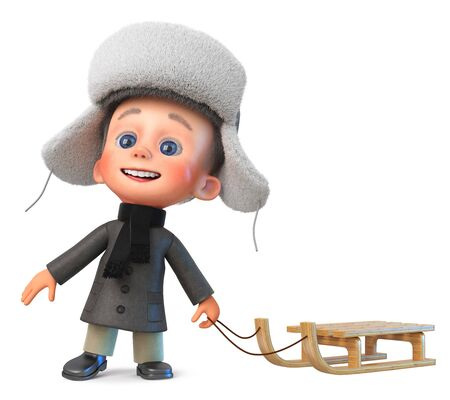 3D illustration baby is standing outside in warm clothes in winter with a sled