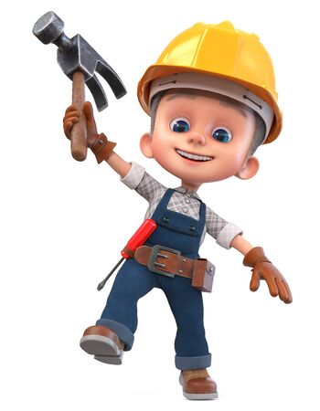3D illustration Construction worker in overalls with a hammer and a screwdriver