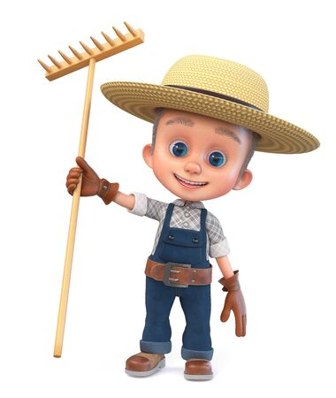 3D illustration a small farmer in overalls with a large rake is smiling