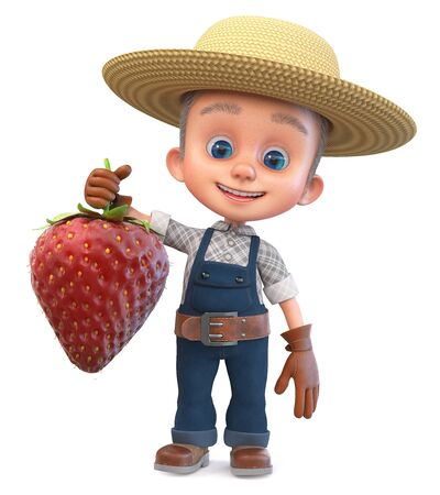 3D illustration funny small farmer in overalls with a large crop