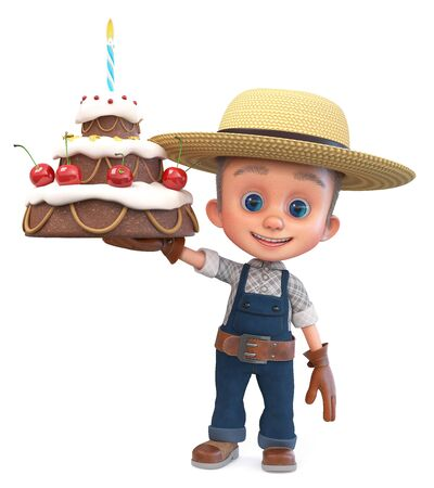 3D illustration of a small farmer in overalls with a large gift cake 写真素材
