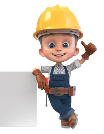 3D illustration small worker in overalls with a screwdriver and a yellow helmet with a large poster