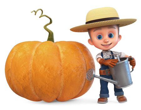 3D illustration a small farmer in overalls with a large pumpkin in the garde