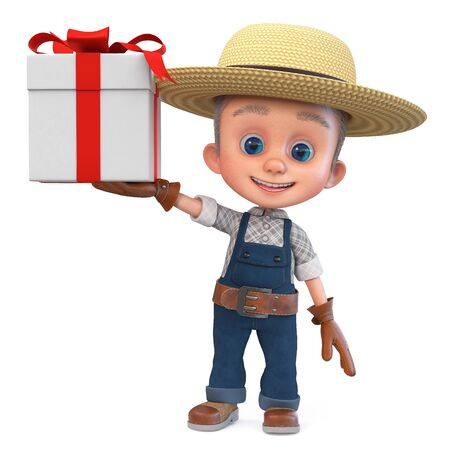 3D illustration of a small farmer in overalls with a large gift