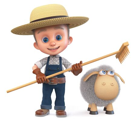 3D illustration child in a straw hat is engaged in animal husbandry