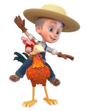 3D illustration a child in a straw hat works on a poultry farm