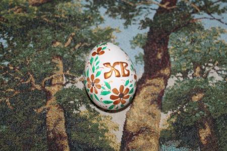 christian festival: Easter egg on tapestry