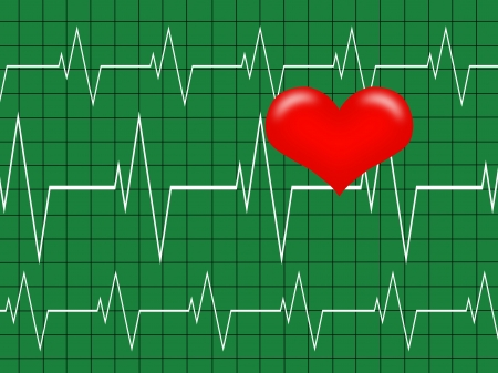 Cardiology concept. Graph and Heart, Heartbeat on  green monitor photo