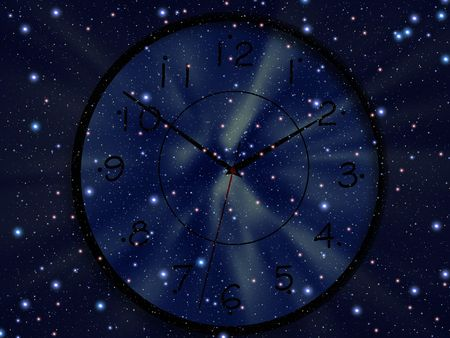 Clock is floating in space. Time photo