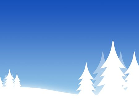 Christmas background with threes and hills photo