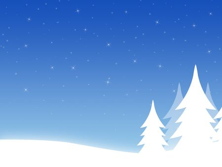 Christmas background with threes and hills Stock Photo - 3997437
