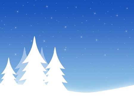 Christmas background with threes and hills Stock Photo - 3997438