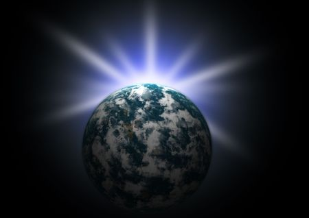 Planet earth with flare in space Stock Photo - 4083103
