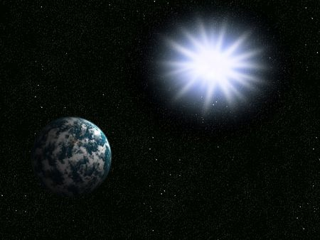 Explosion of the big star about a planet the earth Stock Photo - 5202926