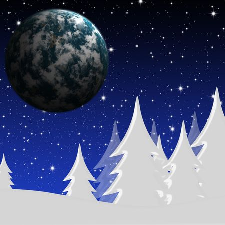 Winter night landscape and the star sky planet Stock Photo - 5817047