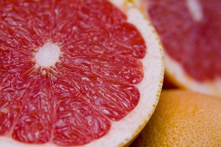 freshest: Ripe red grapefruit cut on slices