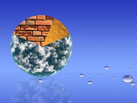 sectores: Planeta la tierra dividida en sectores dentro de magma y la tierra