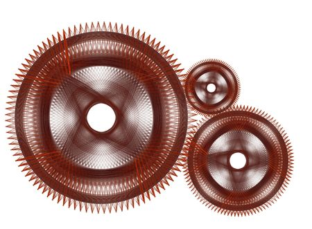 considerable: Considerable quantity of gears on a white background