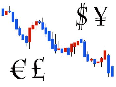 trading: The schedule forex in the form of candles against the white background