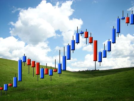 forex: The schedule forex in the form of candles against the nature         Stock Photo